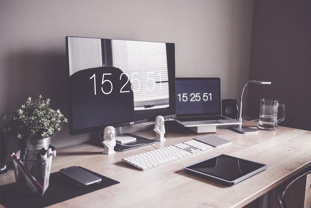 Clean Wooden Workspace Desk Setup  - post3 - Marketing Expert & Marketing Strategy on Whiteboard